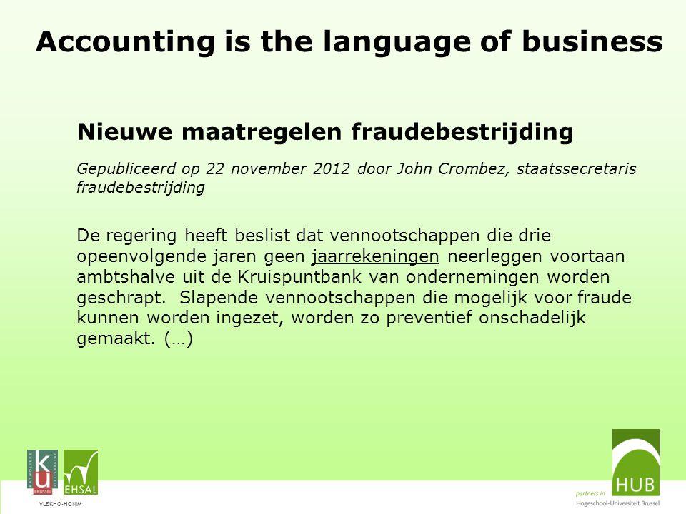 VLEKHO-HONIM Afstudeerrichting ACCOUNTANCY Controle –Accounting informatiesystemen (incl.