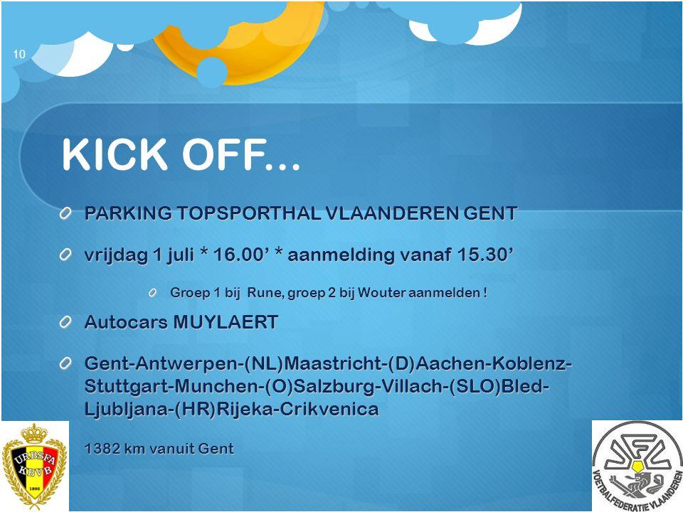 KICK OFF... PARKING TOPSPORTHAL VLAANDEREN GENT vrijdag 1 juli * 16.00' * aanmelding vanaf 15.30' Groep 1 bij Rune, groep 2 bij Wouter aanmelden ! Aut