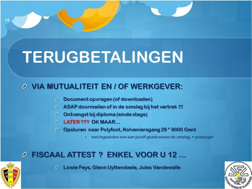 TERUGBETALINGEN VIA MUTUALITEIT EN / OF WERKGEVER: Document opvragen (of downloaden) ASAP doormailen of in de omslag bij het vertrek !!! Ontvangst bij