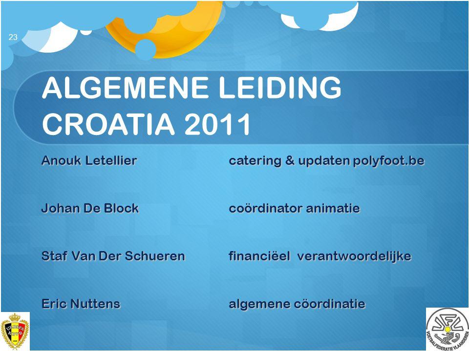 ALGEMENE LEIDING CROATIA 2011 Anouk Letellier catering & updaten polyfoot.be Johan De Blockcoördinator animatie Staf Van Der Schuerenfinanciëel verant