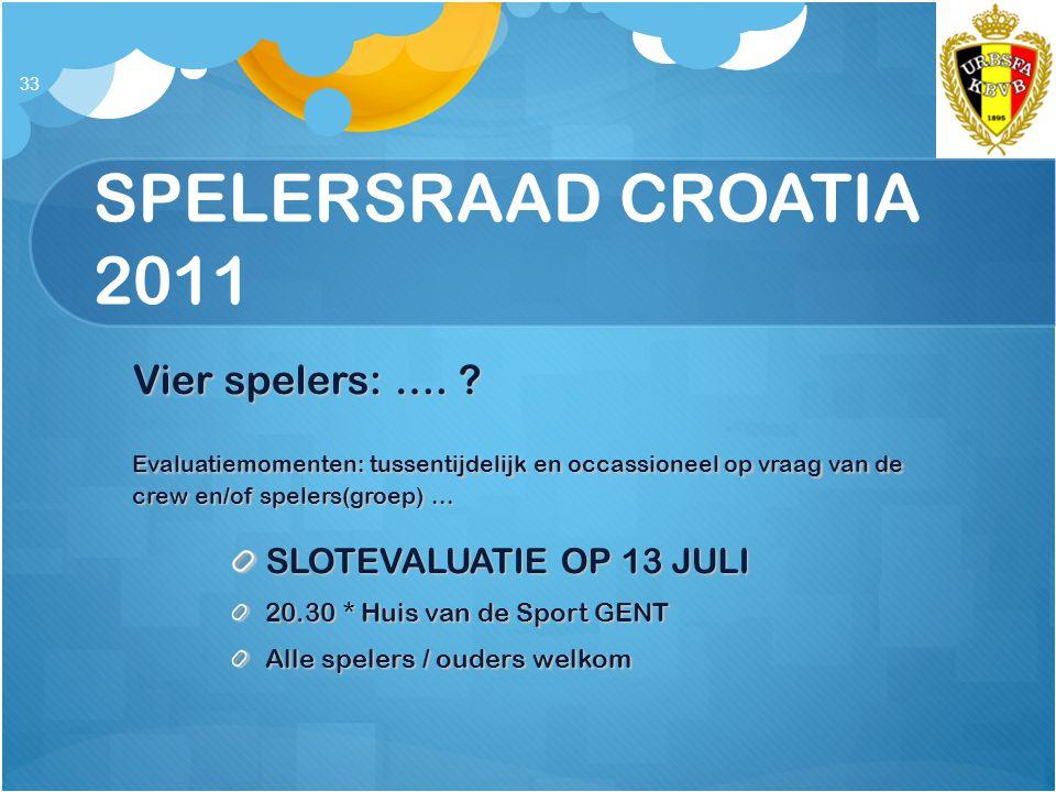 SPELERSRAAD CROATIA 2011 Vier spelers: …. ? Evaluatiemomenten: tussentijdelijk en occassioneel op vraag van de crew en/of spelers(groep)... SLOTEVALUA