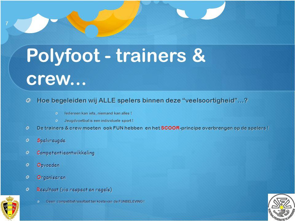 """Polyfoot - trainers & crew... Hoe begeleiden wij ALLE spelers binnen deze """"veelsoortigheid""""...? Iedereen kan iets, niemand kan alles ! Jeugdvoetbal is"""