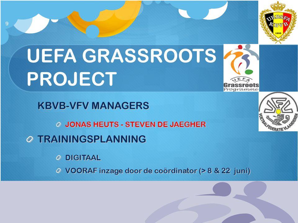 UEFA GRASSROOTS PROJECT KBVB-VFV MANAGERS JONAS HEUTS - STEVEN DE JAEGHER TRAININGSPLANNINGDIGITAAL VOORAF inzage door de coördinator (> 8 & 22 juni)