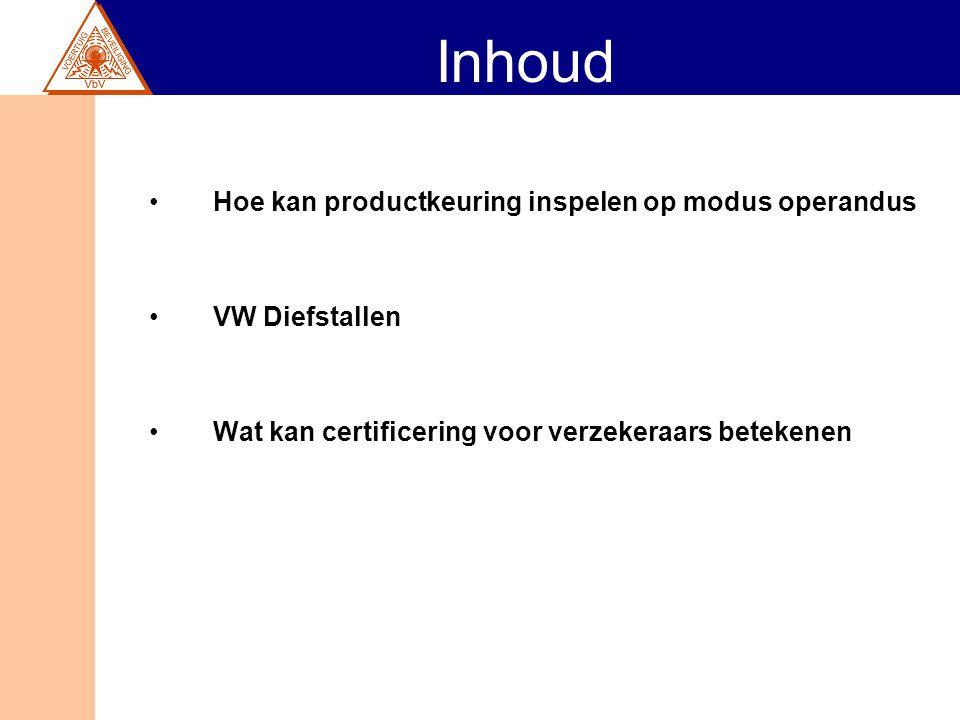 Inhoud Hoe kan productkeuring inspelen op modus operandus VW Diefstallen Wat kan certificering voor verzekeraars betekenen