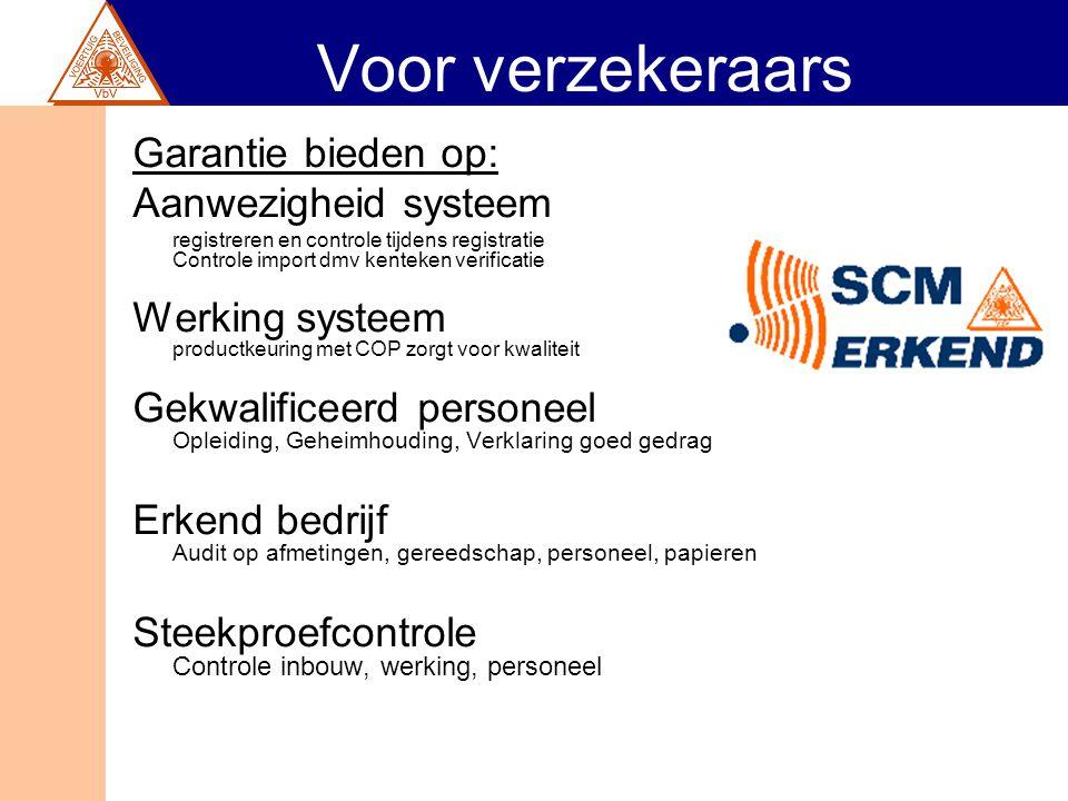Voor verzekeraars Garantie bieden op: Aanwezigheid systeem registreren en controle tijdens registratie Controle import dmv kenteken verificatie Werkin