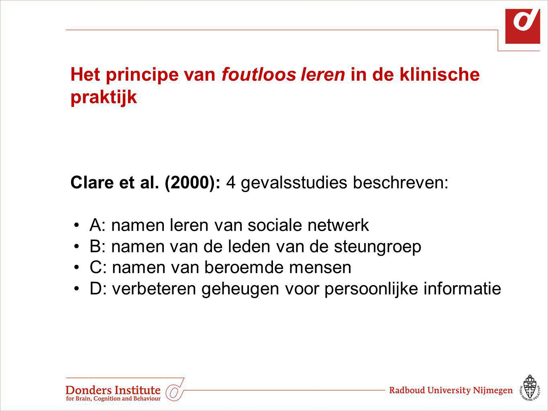 Het principe van foutloos leren in de klinische praktijk Clare et al. (2000): 4 gevalsstudies beschreven: A: namen leren van sociale netwerk B: namen