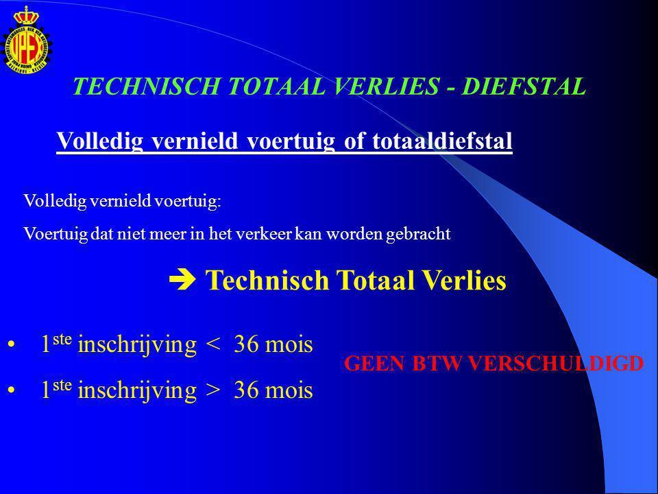 Procedure voor wrakoffertes ECONOMISCH TOTAAL VERLIES TECHNISCH TOTAAL VERLIES - TOTAALDIEFSTAL 1.Voertuig waarvoor de eerste inschrijving < 36 maanden 2.Voertuig waarvoor de eerste inschrijving > 36 maanden VERKOOPREGIME : NIET AAN DE MARGE