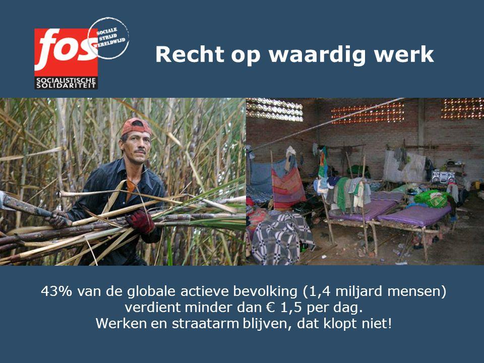 Recht op waardig werk 43% van de globale actieve bevolking (1,4 miljard mensen) verdient minder dan € 1,5 per dag. Werken en straatarm blijven, dat kl