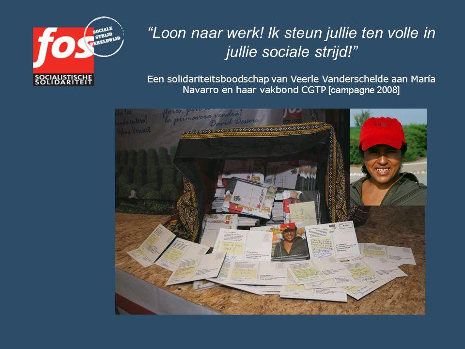 """""""Loon naar werk! Ik steun jullie ten volle in jullie sociale strijd!"""" Een solidariteitsboodschap van Veerle Vanderschelde aan María Navarro en haar va"""