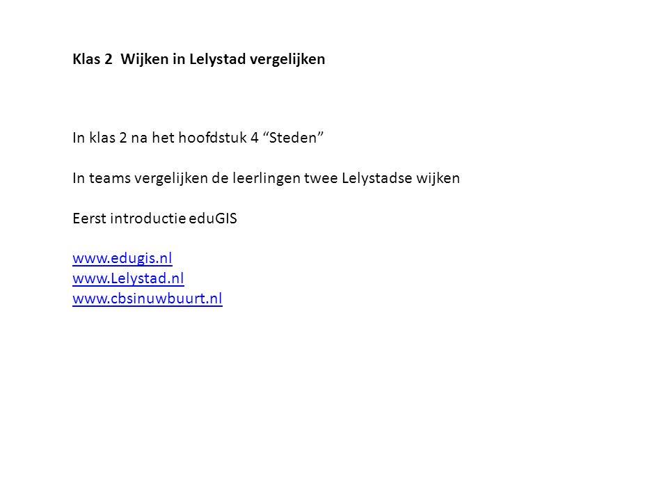 """In klas 2 na het hoofdstuk 4 """"Steden"""" In teams vergelijken de leerlingen twee Lelystadse wijken Eerst introductie eduGIS www.edugis.nl www.Lelystad.nl"""