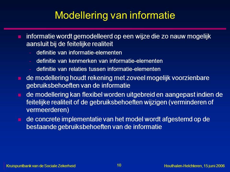10 Kruispuntbank van de Sociale ZekerheidHouthalen-Helchteren, 15 juni 2006 Modellering van informatie n informatie wordt gemodelleerd op een wijze die zo nauw mogelijk aansluit bij de feitelijke realiteit -definitie van informatie-elementen -definitie van kenmerken van informatie-elementen -definitie van relaties tussen informatie-elementen n de modellering houdt rekening met zoveel mogelijk voorzienbare gebruiksbehoeften van de informatie n de modellering kan flexibel worden uitgebreid en aangepast indien de feitelijke realiteit of de gebruiksbehoeften wijzigen (verminderen of vermeerderen) n de concrete implementatie van het model wordt afgestemd op de bestaande gebruiksbehoeften van de informatie