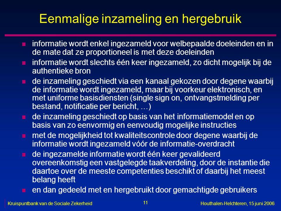 11 Kruispuntbank van de Sociale ZekerheidHouthalen-Helchteren, 15 juni 2006 Eenmalige inzameling en hergebruik n informatie wordt enkel ingezameld voo