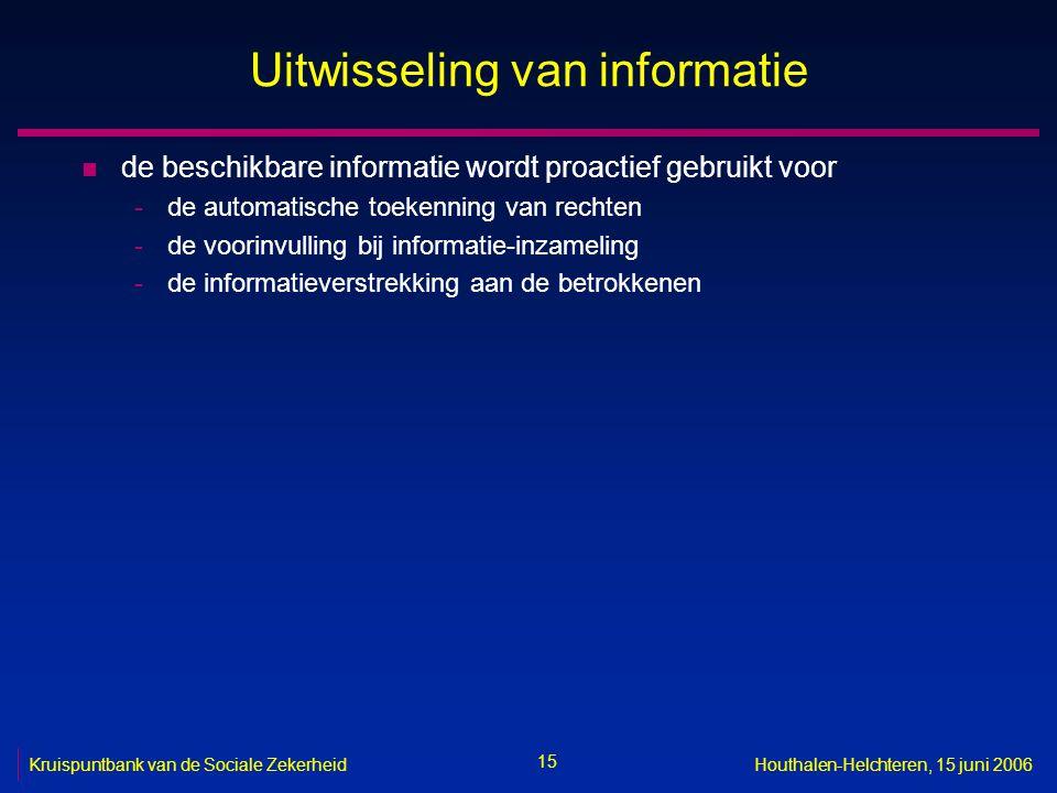 15 Kruispuntbank van de Sociale ZekerheidHouthalen-Helchteren, 15 juni 2006 Uitwisseling van informatie n de beschikbare informatie wordt proactief gebruikt voor -de automatische toekenning van rechten -de voorinvulling bij informatie-inzameling -de informatieverstrekking aan de betrokkenen