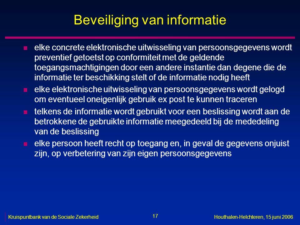 17 Kruispuntbank van de Sociale ZekerheidHouthalen-Helchteren, 15 juni 2006 Beveiliging van informatie n elke concrete elektronische uitwisseling van