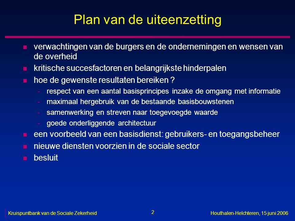 2 Houthalen-Helchteren, 15 juni 2006 Plan van de uiteenzetting n verwachtingen van de burgers en de ondernemingen en wensen van de overheid n kritische succesfactoren en belangrijkste hinderpalen n hoe de gewenste resultaten bereiken .