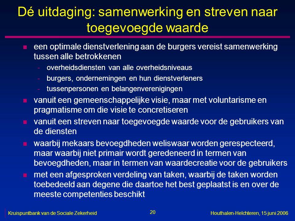 20 Kruispuntbank van de Sociale ZekerheidHouthalen-Helchteren, 15 juni 2006 Dé uitdaging: samenwerking en streven naar toegevoegde waarde n een optima