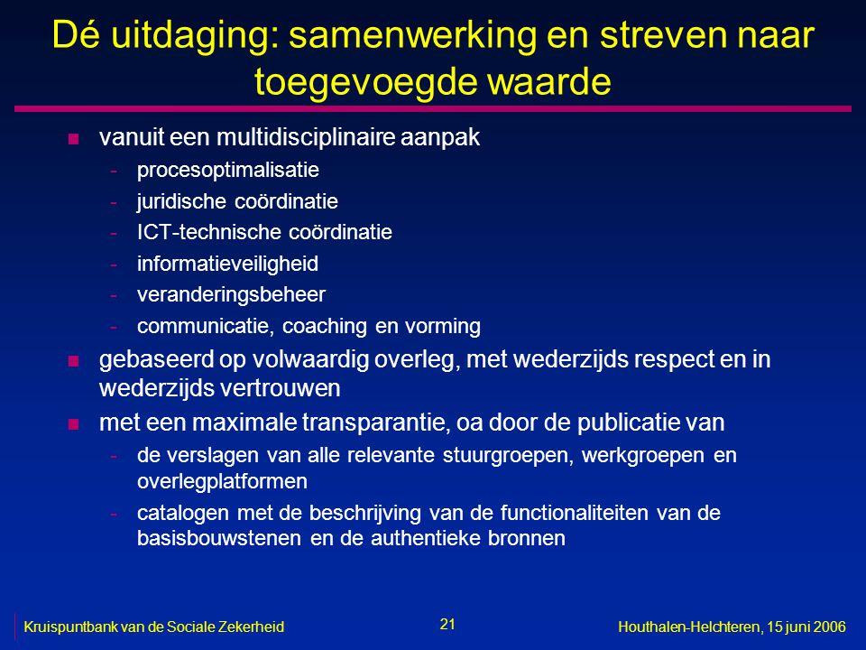 21 Kruispuntbank van de Sociale ZekerheidHouthalen-Helchteren, 15 juni 2006 Dé uitdaging: samenwerking en streven naar toegevoegde waarde n vanuit een