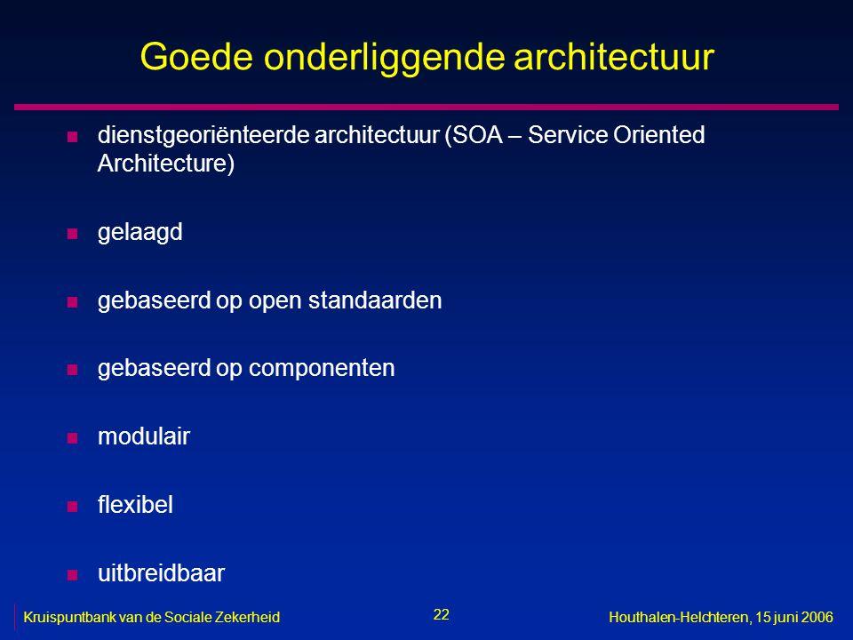 22 Kruispuntbank van de Sociale ZekerheidHouthalen-Helchteren, 15 juni 2006 Goede onderliggende architectuur n dienstgeoriënteerde architectuur (SOA –