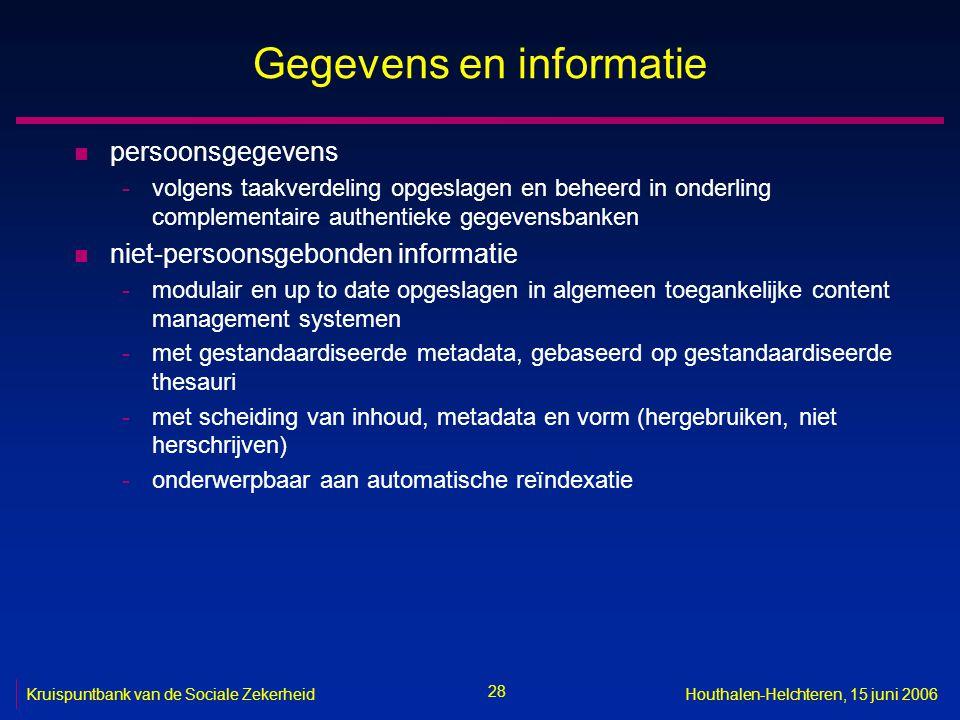 28 Kruispuntbank van de Sociale ZekerheidHouthalen-Helchteren, 15 juni 2006 Gegevens en informatie n persoonsgegevens -volgens taakverdeling opgeslage