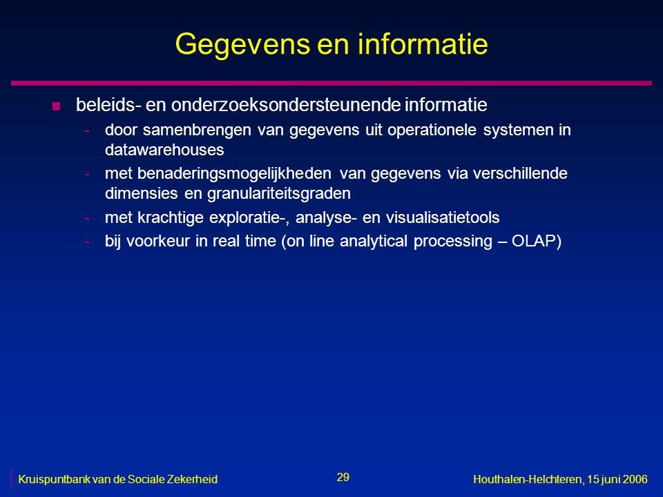 29 Kruispuntbank van de Sociale ZekerheidHouthalen-Helchteren, 15 juni 2006 Gegevens en informatie n beleids- en onderzoeksondersteunende informatie -