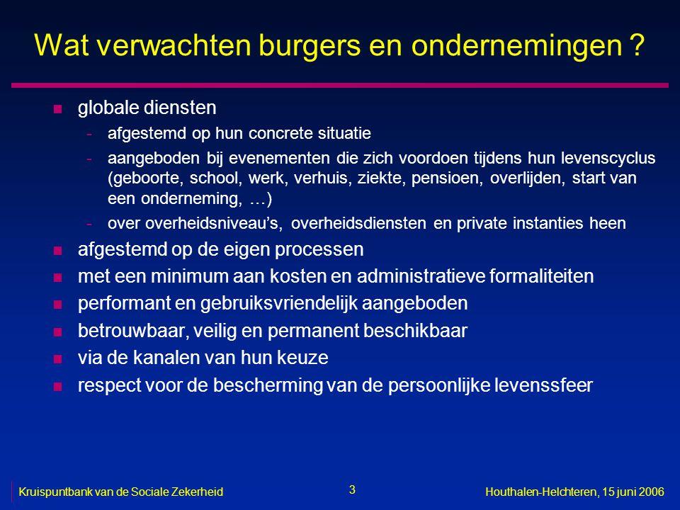 3 Kruispuntbank van de Sociale ZekerheidHouthalen-Helchteren, 15 juni 2006 Wat verwachten burgers en ondernemingen ? n globale diensten -afgestemd op
