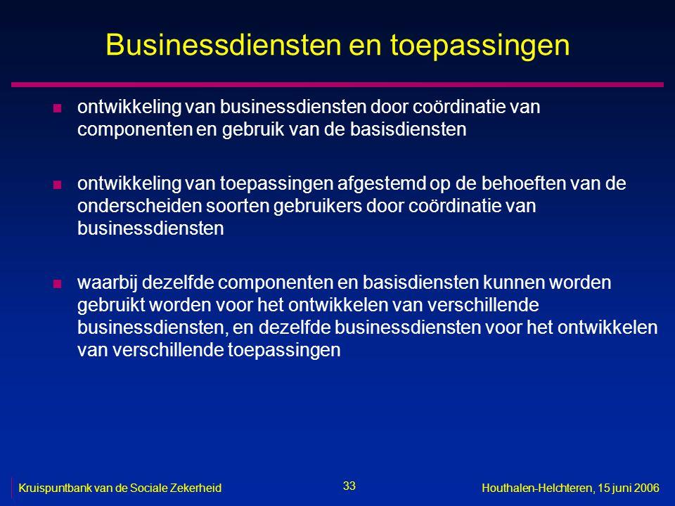 33 Kruispuntbank van de Sociale ZekerheidHouthalen-Helchteren, 15 juni 2006 Businessdiensten en toepassingen n ontwikkeling van businessdiensten door