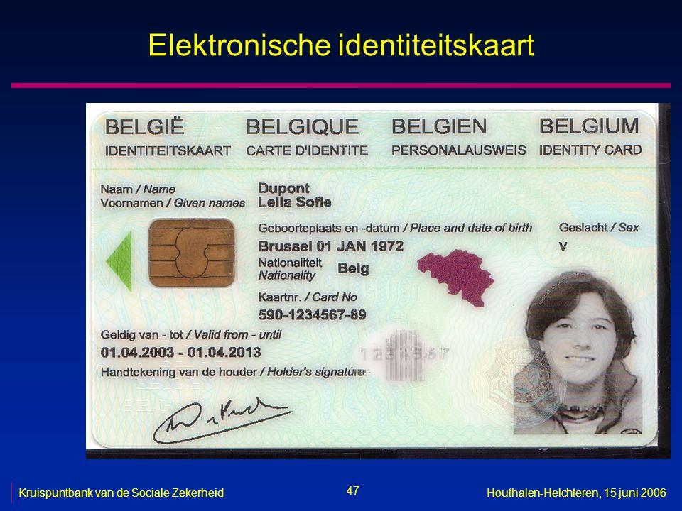 47 Kruispuntbank van de Sociale ZekerheidHouthalen-Helchteren, 15 juni 2006 Elektronische identiteitskaart