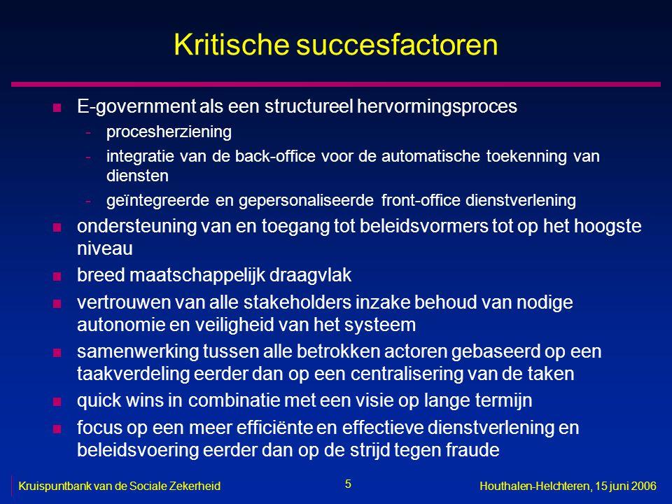 26 Kruispuntbank van de Sociale ZekerheidHouthalen-Helchteren, 15 juni 2006 Open specificaties en open standaarden n voorbeelden -karaktersets -interconnectie -uitwisseling van berichten -uitwisseling van documenten -opslag van berichten -opslag van documenten -compressie van documenten -beveiliging n zie bijvoorbeeld http://www.ksz.fgov.be/documentation/nl/documentation/ Pers/OpenstandaardenNL_FEDICT.pdf http://www.ksz.fgov.be/documentation/nl/documentation/ Pers/OpenstandaardenNL_FEDICT.pdf