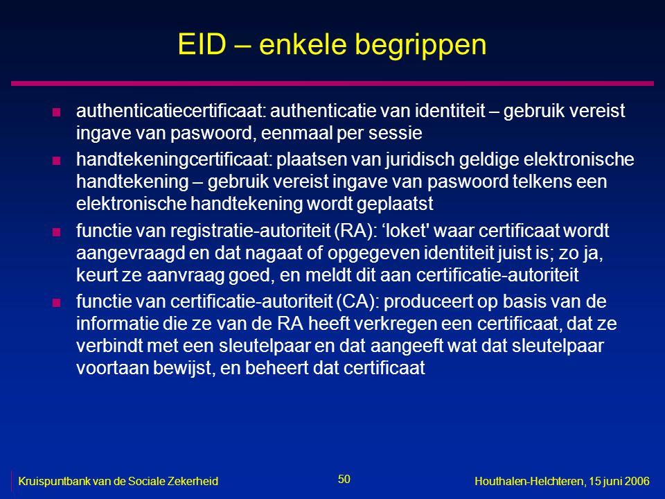 50 Kruispuntbank van de Sociale ZekerheidHouthalen-Helchteren, 15 juni 2006 EID – enkele begrippen n authenticatiecertificaat: authenticatie van ident