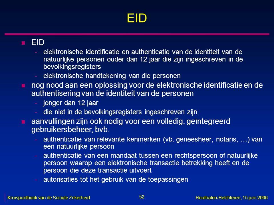 52 Kruispuntbank van de Sociale ZekerheidHouthalen-Helchteren, 15 juni 2006 EID n EID -elektronische identificatie en authenticatie van de identiteit