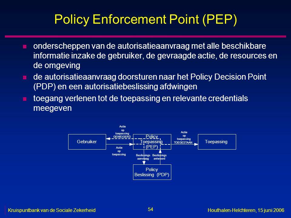 54 Kruispuntbank van de Sociale ZekerheidHouthalen-Helchteren, 15 juni 2006 Policy Enforcement Point (PEP) n onderscheppen van de autorisatieaanvraag met alle beschikbare informatie inzake de gebruiker, de gevraagde actie, de resources en de omgeving n de autorisatieaanvraag doorsturen naar het Policy Decision Point (PDP) en een autorisatiebeslissing afdwingen n toegang verlenen tot de toepassing en relevante credentials meegeven Gebruiker Policy Toepassing (PEP) Toepassing Policy Beslissing(PDP) Actie op toepassing Beslissings aanvraag Beslissings antwoord Actie op toepassing TOEGESTAAN Actie op toepassing GEWEIGERD