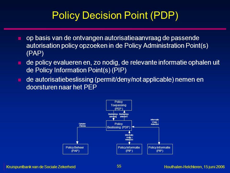 55 Kruispuntbank van de Sociale ZekerheidHouthalen-Helchteren, 15 juni 2006 Policy Decision Point (PDP) n op basis van de ontvangen autorisatieaanvraag de passende autorisation policy opzoeken in de Policy Administration Point(s) (PAP) n de policy evalueren en, zo nodig, de relevante informatie ophalen uit de Policy Information Point(s) (PIP) n de autorisatiebeslissing (permit/deny/not applicable) nemen en doorsturen naar het PEP Policy Toepassing (PEP) Policy Beslissing(PDP) Beslissings aanvraag Beslissings antwoord Policy Informatie (PIP) Vraag / Antwoord Policy Beheer (PAP) Ophalen Policies Policy Informatie (PIP) Informatie Vraag/ Antwoord Informatie