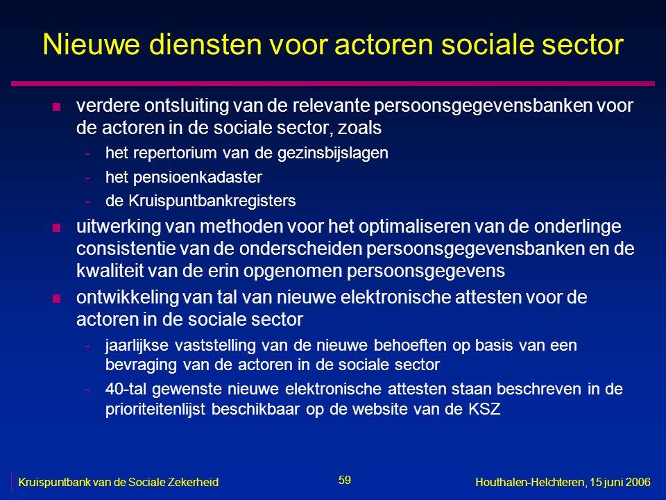 59 Kruispuntbank van de Sociale ZekerheidHouthalen-Helchteren, 15 juni 2006 Nieuwe diensten voor actoren sociale sector n verdere ontsluiting van de r