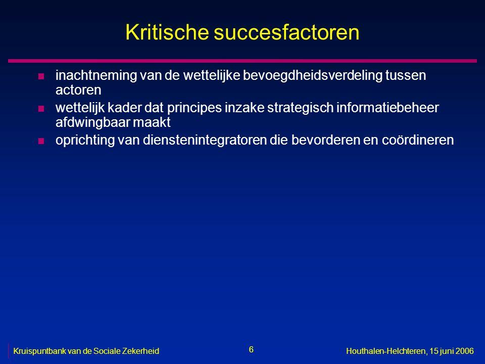 6 Kruispuntbank van de Sociale ZekerheidHouthalen-Helchteren, 15 juni 2006 Kritische succesfactoren n inachtneming van de wettelijke bevoegdheidsverde