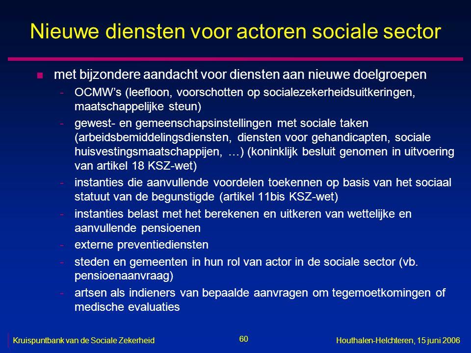 60 Kruispuntbank van de Sociale ZekerheidHouthalen-Helchteren, 15 juni 2006 Nieuwe diensten voor actoren sociale sector n met bijzondere aandacht voor