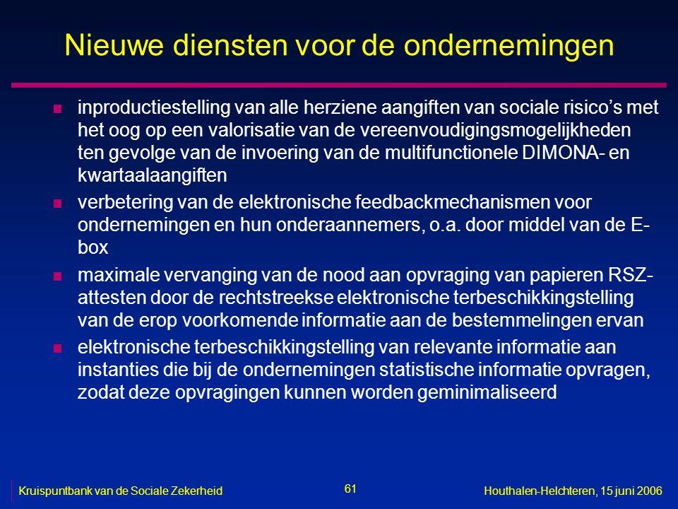 61 Kruispuntbank van de Sociale ZekerheidHouthalen-Helchteren, 15 juni 2006 Nieuwe diensten voor de ondernemingen n inproductiestelling van alle herziene aangiften van sociale risico's met het oog op een valorisatie van de vereenvoudigingsmogelijkheden ten gevolge van de invoering van de multifunctionele DIMONA- en kwartaalaangiften n verbetering van de elektronische feedbackmechanismen voor ondernemingen en hun onderaannemers, o.a.