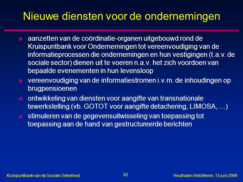 62 Kruispuntbank van de Sociale ZekerheidHouthalen-Helchteren, 15 juni 2006 Nieuwe diensten voor de ondernemingen n aanzetten van de coördinatie-organen uitgebouwd rond de Kruispuntbank voor Ondernemingen tot vereenvoudiging van de informatieprocessen die ondernemingen en hun vestigingen (t.a.v.