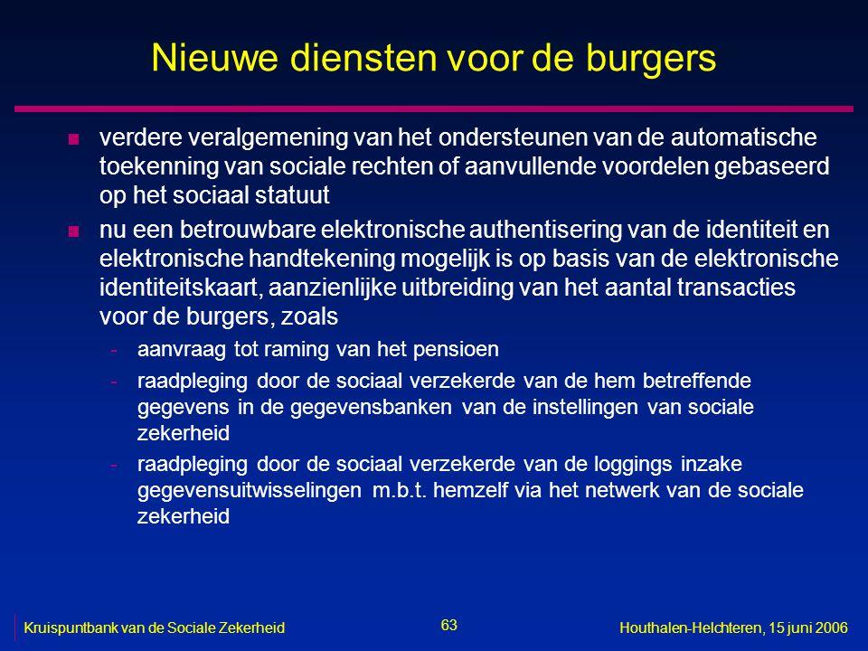 63 Kruispuntbank van de Sociale ZekerheidHouthalen-Helchteren, 15 juni 2006 Nieuwe diensten voor de burgers n verdere veralgemening van het ondersteun