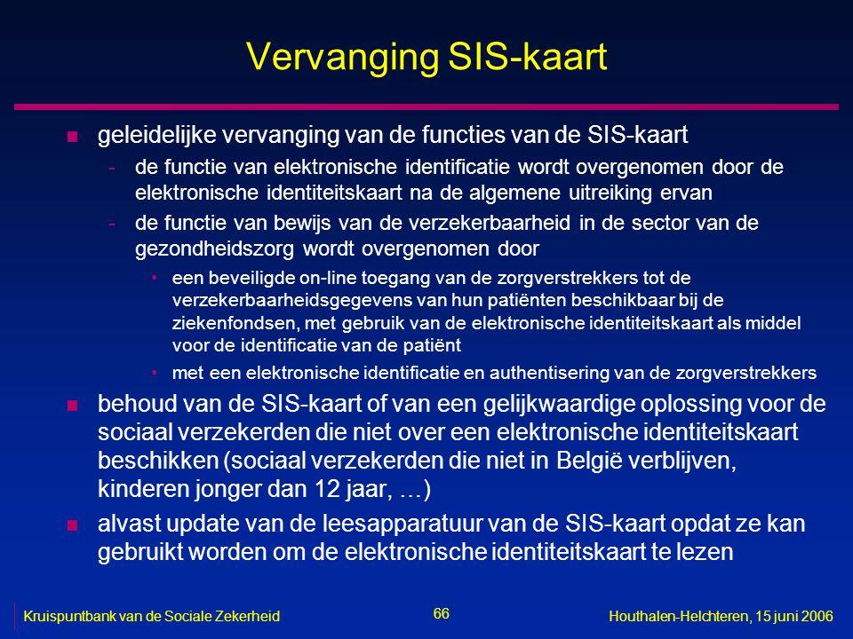 66 Kruispuntbank van de Sociale ZekerheidHouthalen-Helchteren, 15 juni 2006 Vervanging SIS-kaart n geleidelijke vervanging van de functies van de SIS-kaart -de functie van elektronische identificatie wordt overgenomen door de elektronische identiteitskaart na de algemene uitreiking ervan -de functie van bewijs van de verzekerbaarheid in de sector van de gezondheidszorg wordt overgenomen door een beveiligde on-line toegang van de zorgverstrekkers tot de verzekerbaarheidsgegevens van hun patiënten beschikbaar bij de ziekenfondsen, met gebruik van de elektronische identiteitskaart als middel voor de identificatie van de patiënt met een elektronische identificatie en authentisering van de zorgverstrekkers n behoud van de SIS-kaart of van een gelijkwaardige oplossing voor de sociaal verzekerden die niet over een elektronische identiteitskaart beschikken (sociaal verzekerden die niet in België verblijven, kinderen jonger dan 12 jaar, …) n alvast update van de leesapparatuur van de SIS-kaart opdat ze kan gebruikt worden om de elektronische identiteitskaart te lezen