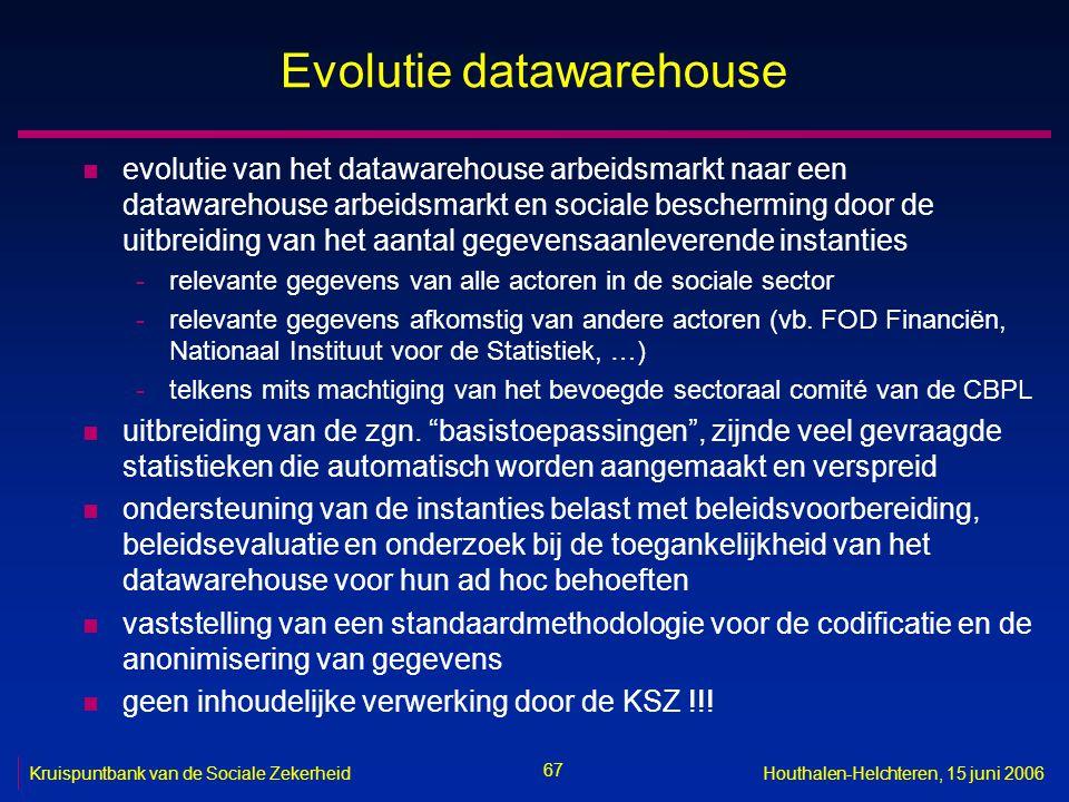 67 Kruispuntbank van de Sociale ZekerheidHouthalen-Helchteren, 15 juni 2006 Evolutie datawarehouse n evolutie van het datawarehouse arbeidsmarkt naar