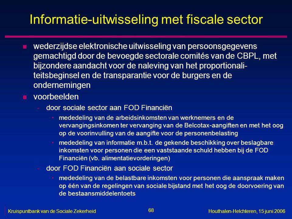 68 Kruispuntbank van de Sociale ZekerheidHouthalen-Helchteren, 15 juni 2006 Informatie-uitwisseling met fiscale sector n wederzijdse elektronische uit