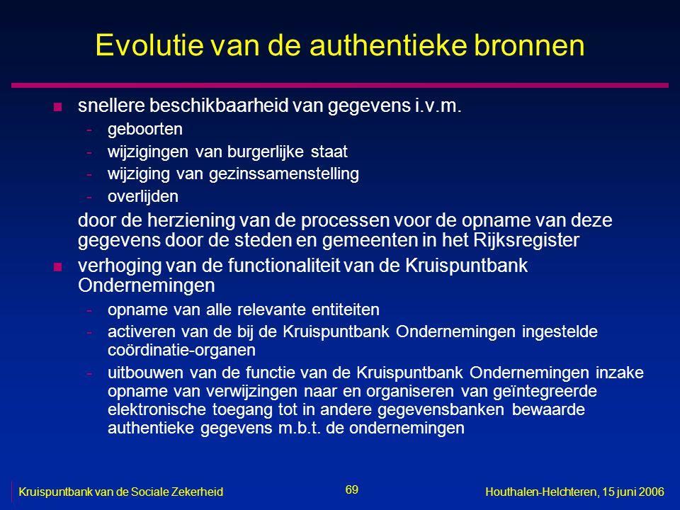 69 Kruispuntbank van de Sociale ZekerheidHouthalen-Helchteren, 15 juni 2006 Evolutie van de authentieke bronnen n snellere beschikbaarheid van gegevens i.v.m.