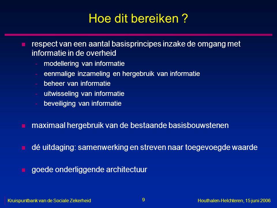 70 Kruispuntbank van de Sociale ZekerheidHouthalen-Helchteren, 15 juni 2006 Ondersteuning uitbouw E-health platform n doel -optimaliseren van de kwaliteit en de continuïteit van de gezondheidszorg- verstrekking en van de veiligheid van de patiënt -vermijden van overbodig administratief werk voor de gezondheidszorg- verstrekkers -door een goed georganiseerde elektronische informatie-uitwisseling tussen alle betrokkenen bij de gezondheidszorgverstrekking -met de nodige waarborgen op het vlak van de informatieveiligheid en de bescherming van de persoonlijke levenssfeer n concreet -gestructureerde en gestandaardiseerde elektronische opslag van minimale informatie over de patiënt, de verstrekte zorgen en de resultaten van de verstrekte zorgen -terbeschikkingstelling aan de behandelende zorgverstrekkers van een gecontroleerde, goed beveiligde elektronische toegang tot relevante informatie over de patiënt, de verstrekte zorgen en de resultaten van verstrekte zorgen, die elders beschikbaar is -elektronische uitwisseling van gestructureerde zorgvoorschriften tussen zorgverstrekkers, zowel binnen als buiten zorginstellingen