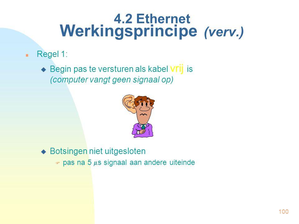100 4.2 Ethernet Werkingsprincipe (verv.) Regel 1:  Begin pas te versturen als kabel vrij is (computer vangt geen signaal op)  Botsingen niet uitges