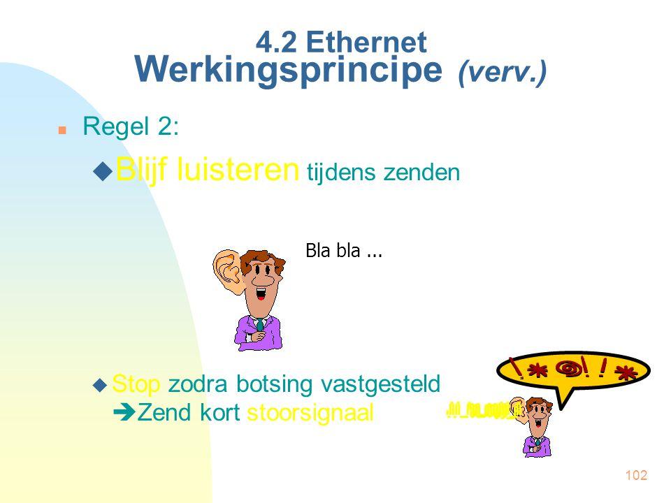 102 4.2 Ethernet Werkingsprincipe (verv.) Regel 2:  Blijf luisteren tijdens zenden  Stop zodra botsing vastgesteld  Zend kort stoorsignaal Bla bla.