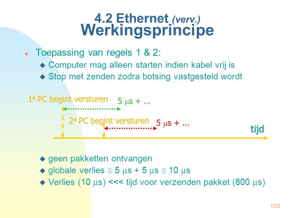 103 4.2 Ethernet (verv.) Werkingsprincipe Toepassing van regels 1 & 2:  Computer mag alleen starten indien kabel vrij is  Stop met zenden zodra bots