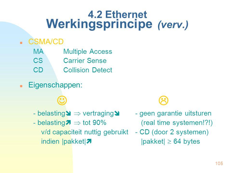 105 4.2 Ethernet Werkingsprincipe (verv.) CSMA/CD MAMultiple Access CSCarrier Sense CDCollision Detect Eigenschappen:  - belasting   vertraging  -