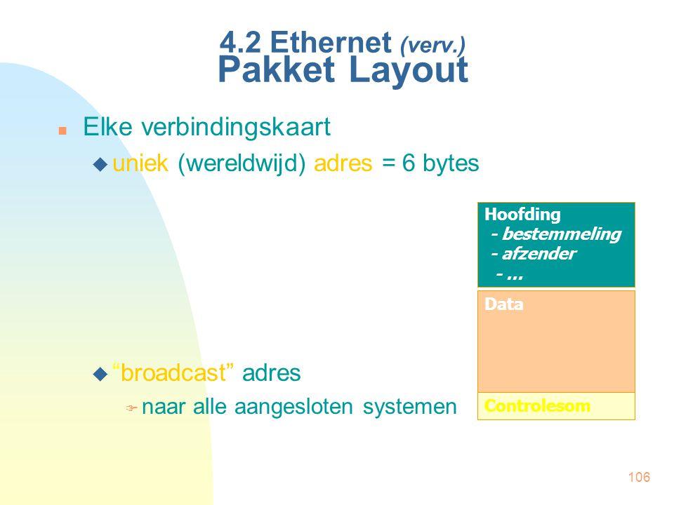 """106 4.2 Ethernet (verv.) Pakket Layout Elke verbindingskaart  uniek (wereldwijd) adres = 6 bytes  """"broadcast"""" adres  naar alle aangesloten systemen"""