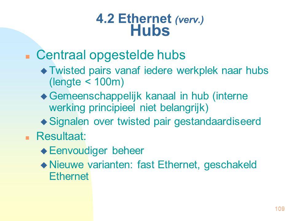 109 4.2 Ethernet (verv.) Hubs Centraal opgestelde hubs  Twisted pairs vanaf iedere werkplek naar hubs (lengte < 100m)  Gemeenschappelijk kanaal in h