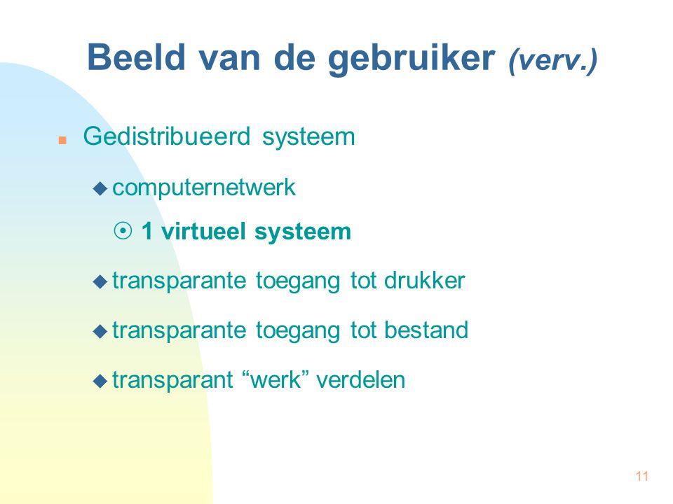 11 Beeld van de gebruiker (verv.) Gedistribueerd systeem  computernetwerk  1 virtueel systeem  transparante toegang tot drukker  transparante toeg
